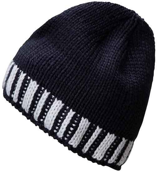 Pletená pánská zimní čepice MB7106 - Tmavě modrá / stříbrná