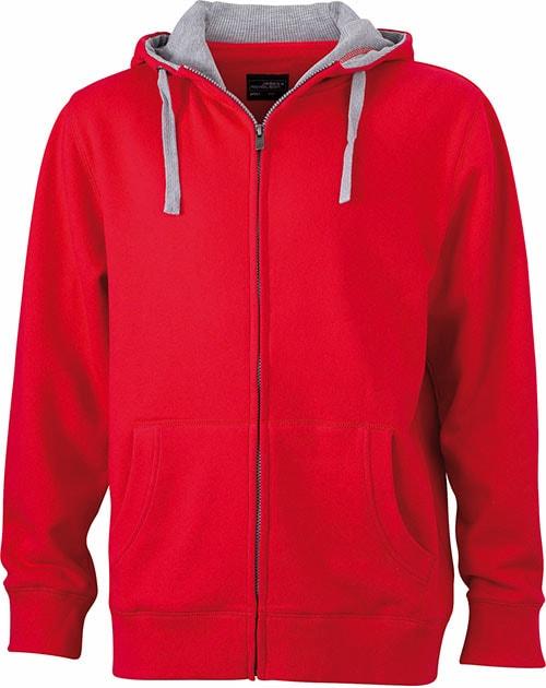 Pánská mikina na zip s kapucí JN963 - Červená / šedá | XXXL