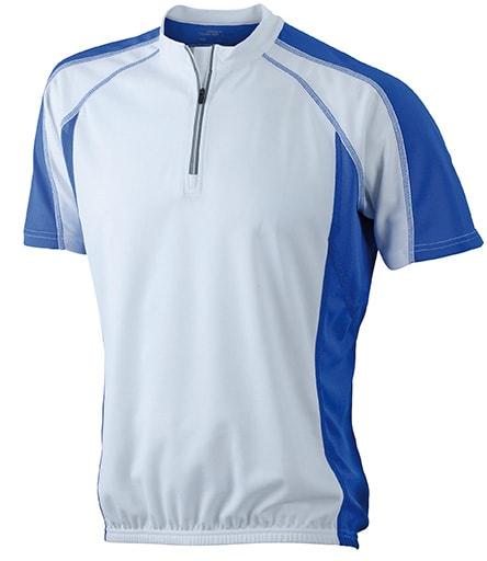 Pánské cyklistické tričko JN420 - Bílá / královská modrá | XXL
