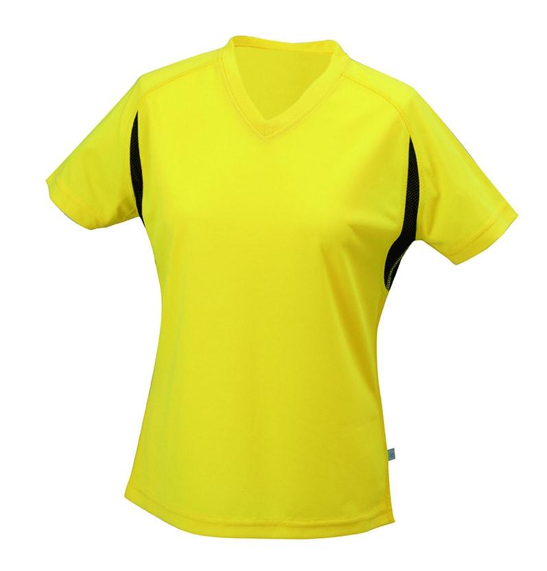 Dámské sportovní tričko s krátkým rukávem JN316 - Žlutá / černá | L