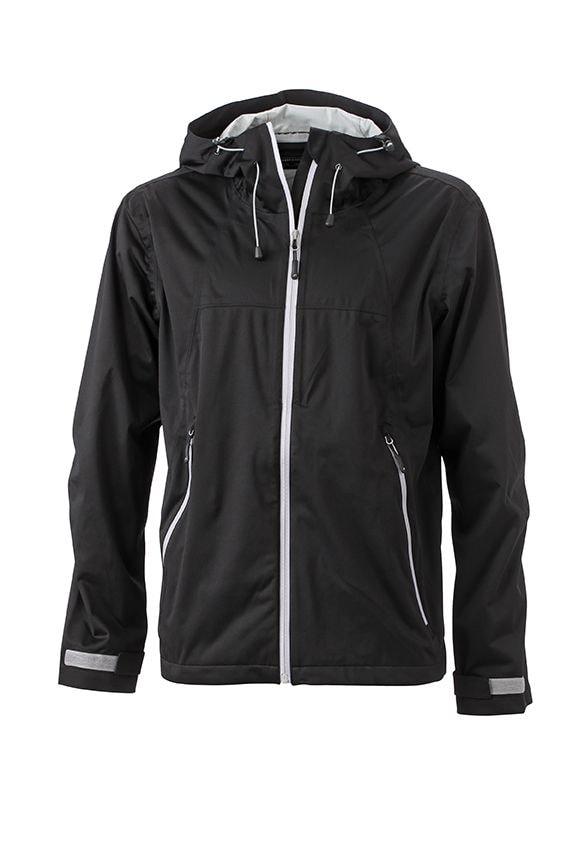 Pánská softshellová bunda s kapucí JN1098 - Černá / stříbrná | L