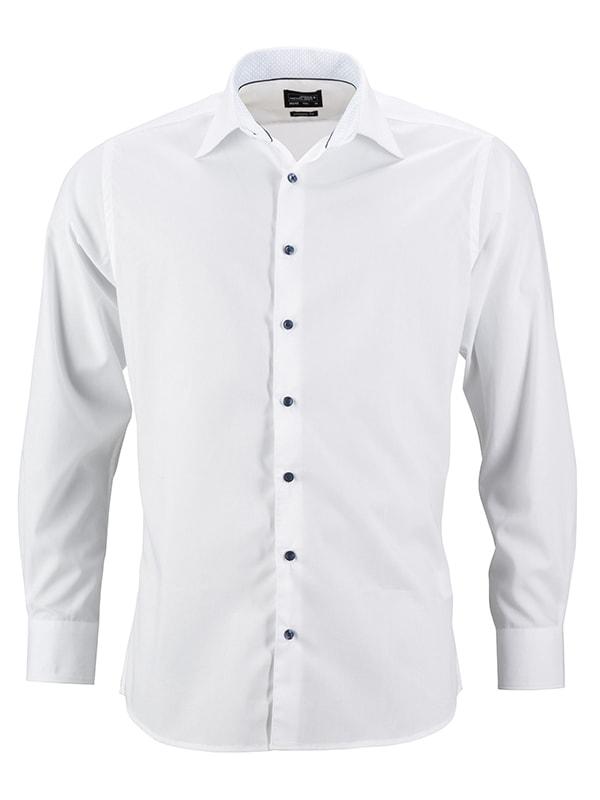 Pánská bílá košile JN648 - Bílo-světle modrá | L