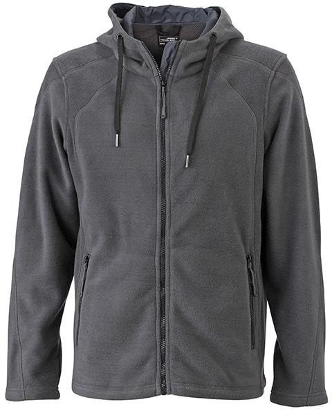 Pánská fleecová mikina s kapucí JN998 - Tmavě šedá   černá  399353719b