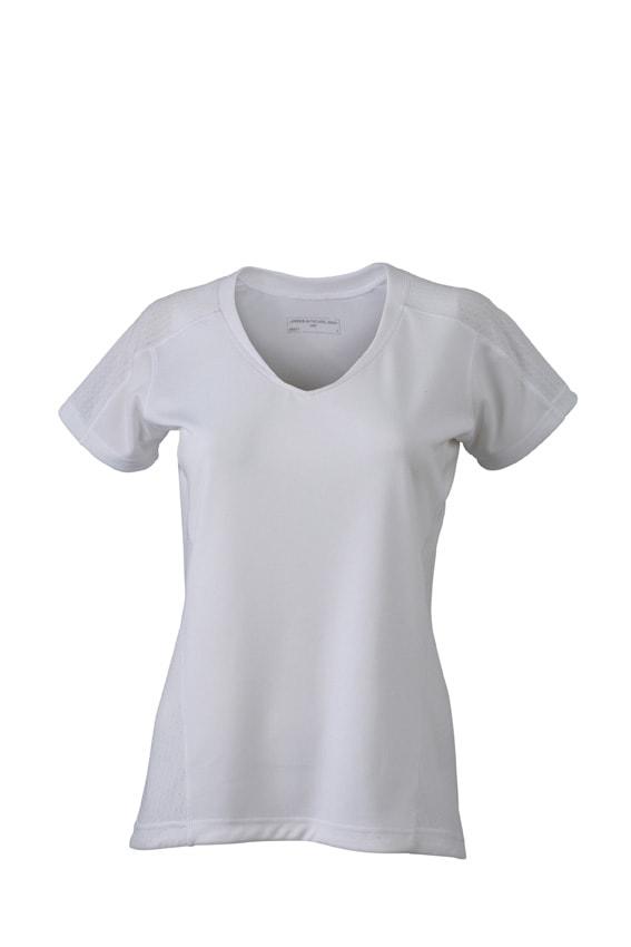 Dámské běžecké triko JN471 - Bílá / bílá   XL
