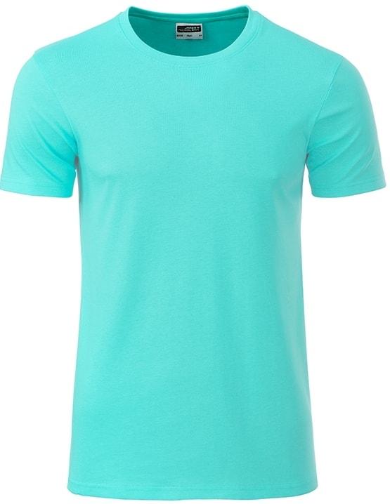 Klasické pánské tričko z biobavlny 8008 - Mátová | M