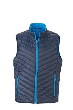 Lehká pánská oboustranná vesta JN1090 - Tmavě modrá / aqua | M