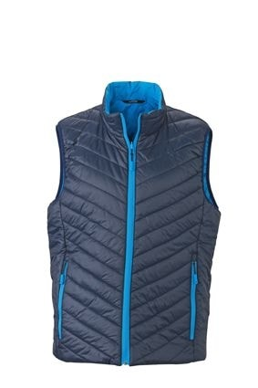 Lehká pánská oboustranná vesta JN1090 - Tmavě modrá / aqua | XXXL