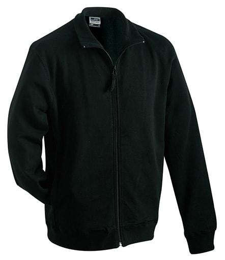 Pánská mikina na zip bez kapuce JN058 - Černá | S