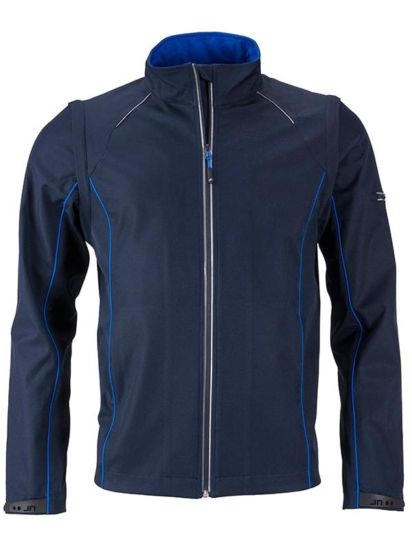 Pánská softshellová bunda 2v1 JN1122 - Tmavě modrá / královsky modrá | XL