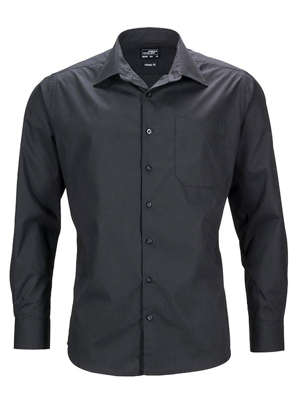 Pánská košile s dlouhým rukávem JN642 - Černá   S