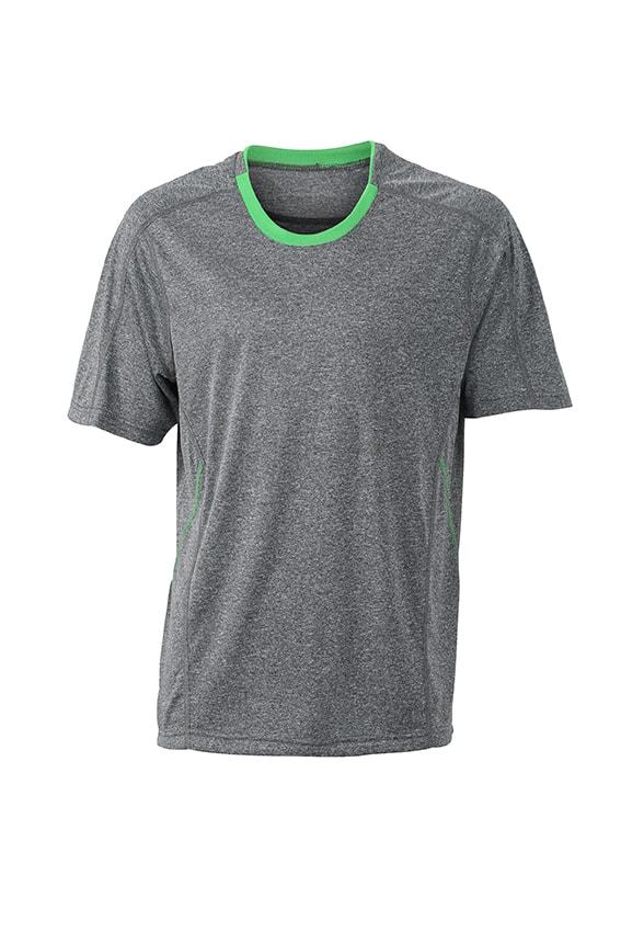 Pánské běžecké tričko JN472 - Šedý melír / zelená | XXL