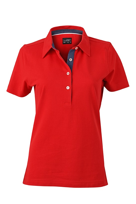 Elegantní dámská polokošile JN969 - Červená / tmavý denim | L