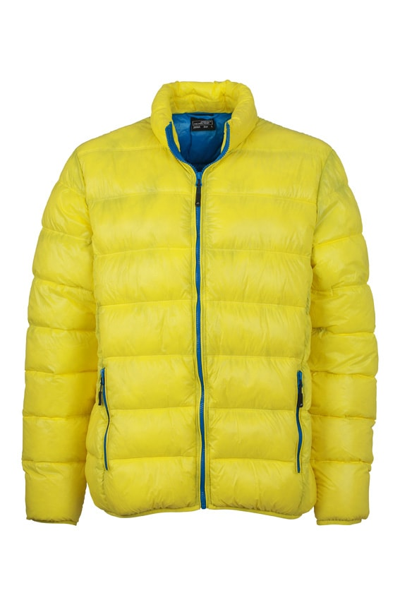 Zimní pánská péřová bunda JN1064 - Žlutá / azurová | M