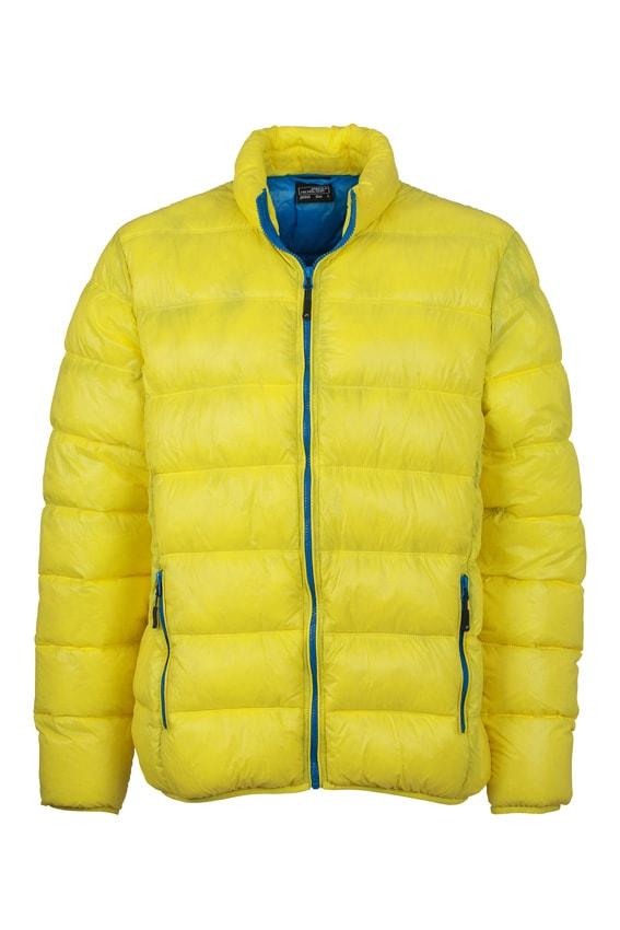 Zimní pánská péřová bunda JN1064 - Žlutá / azurová | S