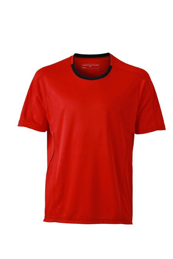 Pánské běžecké tričko JN472 - Tomato / černá | M