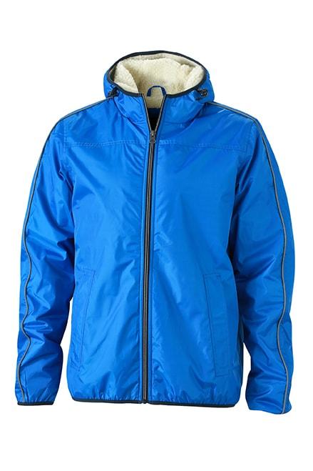James & Nicholson Pánska zimná bunda Baránok JN1104 - Královská modrá / šedo-bílá | XXL