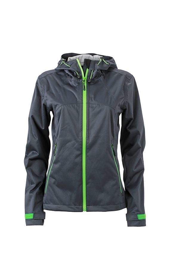 Dámská softshellová bunda s kapucí JN1097 - Ocelově šedá / zelená | XXL