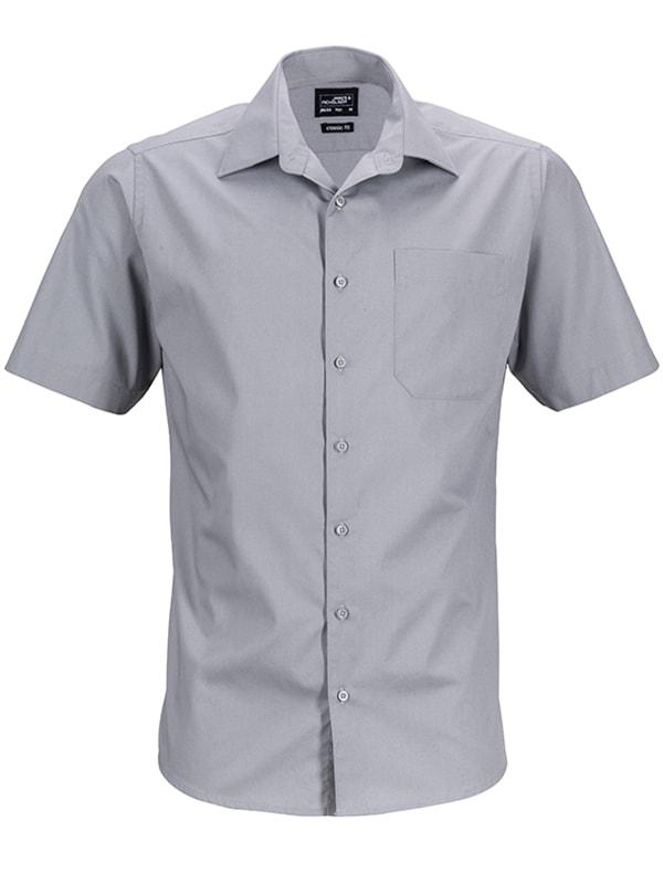 Pánská košile s krátkým rukávem JN644 - Ocelová | XXXL