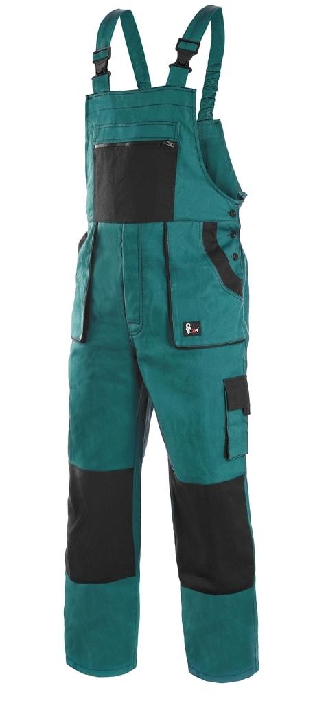 Pracovní kalhoty s laclem CXS LUXY ROBIN - Zelená / černá | 56