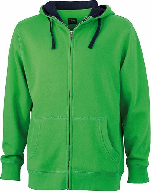 Pánská mikina na zip s kapucí JN963 - Zelená / tmavě modrá | XXXL