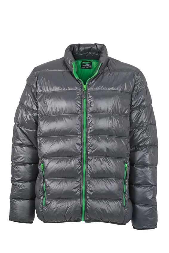 Zimní pánská péřová bunda JN1064 - Grafitová / kapradinová | M