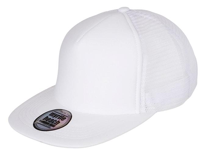 Kšiltovka trucker s rovným kšiltem MB6207 - Bílá / bílá