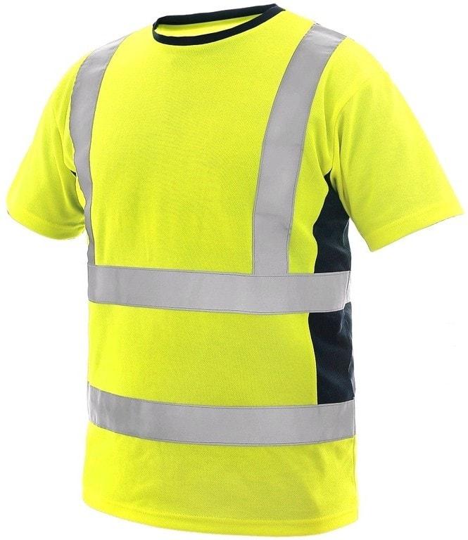 Reflexní tričko EXETER - Žlutá / tmavě modrá | M