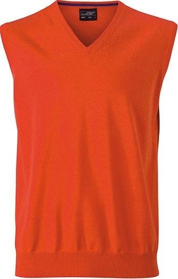 Pánský svetr bez rukávů JN657 - Tmavě oranžová | XXL