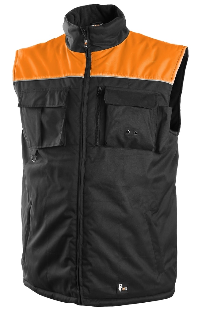 Zateplená pracovní vesta SEATTLE NEW - Černá / oranžová | XL