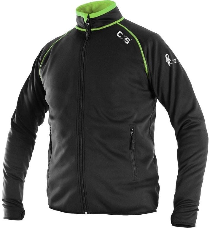 Pánská mikina na zip TORONTO - Černá / zelená | XXXL