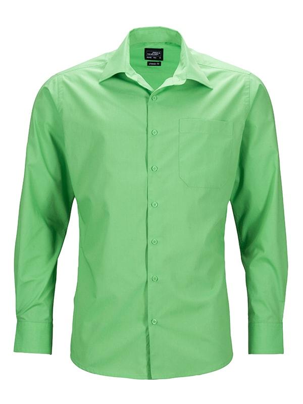 Pánská košile s dlouhým rukávem JN642 - Limetkově zelená   S