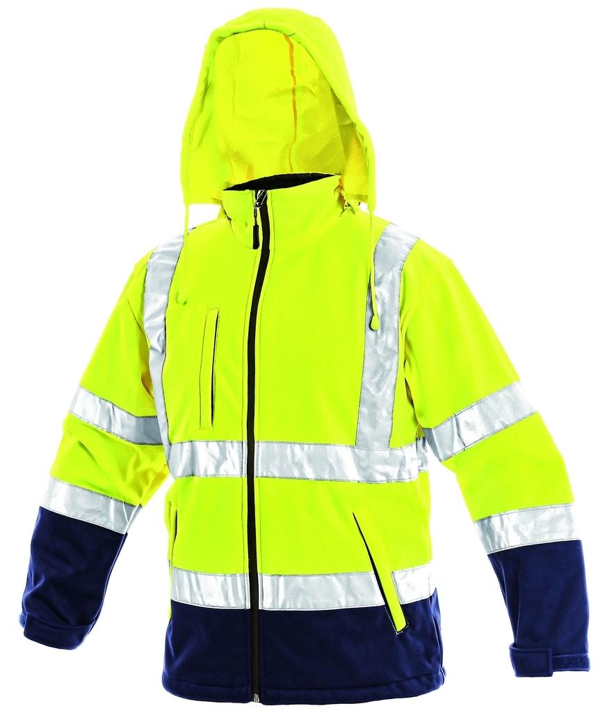 Reflexní softshellová bunda DERBY - Žlutá | XXXL