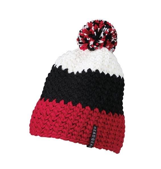 Háčkovaná zimní čepice MB7940 - Červená / černá / bílá | uni