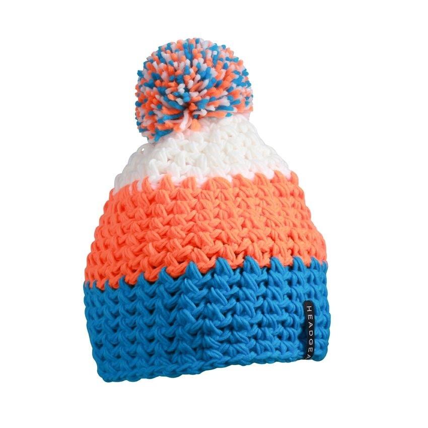 Háčkovaná zimní čepice MB7940 - Pacific / neonově oranžová / bílá | uni