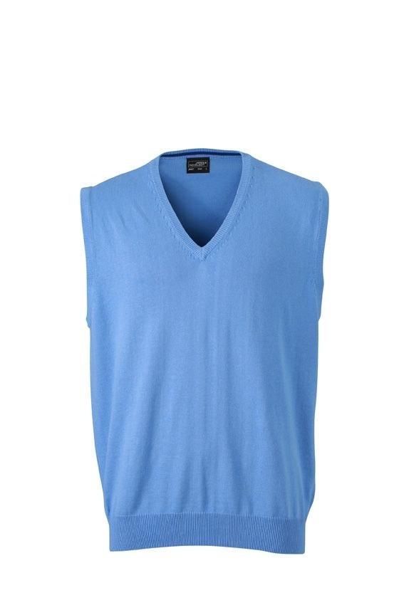Pánský svetr bez rukávů JN657 - Ledově modrá | M