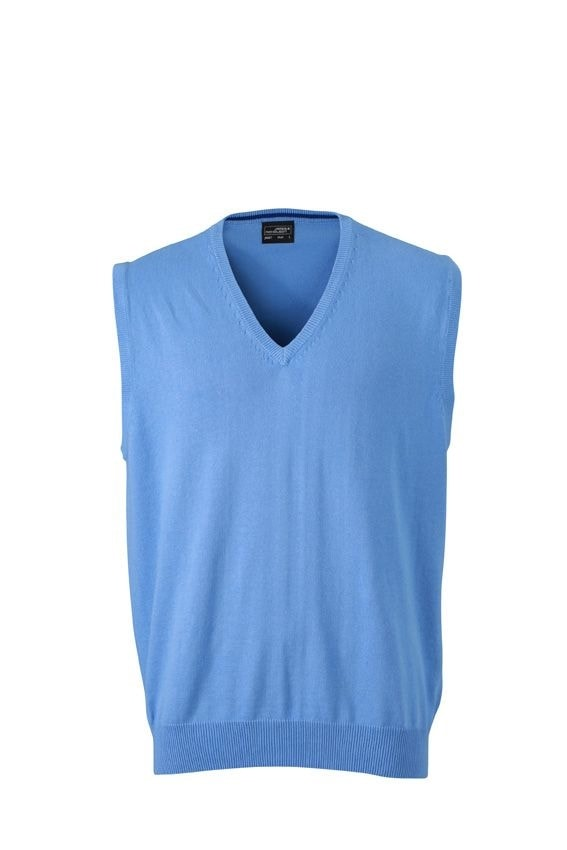 Pánský svetr bez rukávů JN657 - Ledově modrá | XXXL