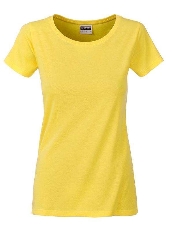 Klasické dámské tričko z biobavlny 8007 - Žlutá | L