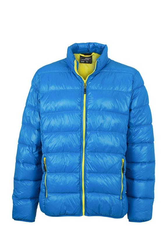 Zimní pánská péřová bunda JN1064 - Azurová / žlutá | S