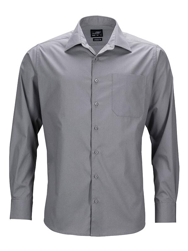Pánská košile s dlouhým rukávem JN642 - Ocelová   S