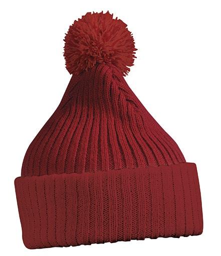 Pletená čepice s bambulí MB7540 - Vínová | uni