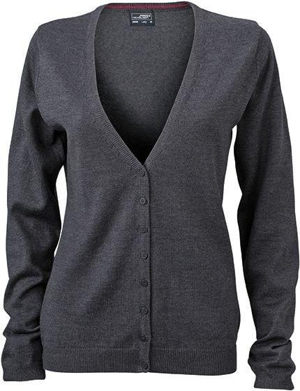 Dámský bavlněný svetr JN660 - Antracitový melír | XXL