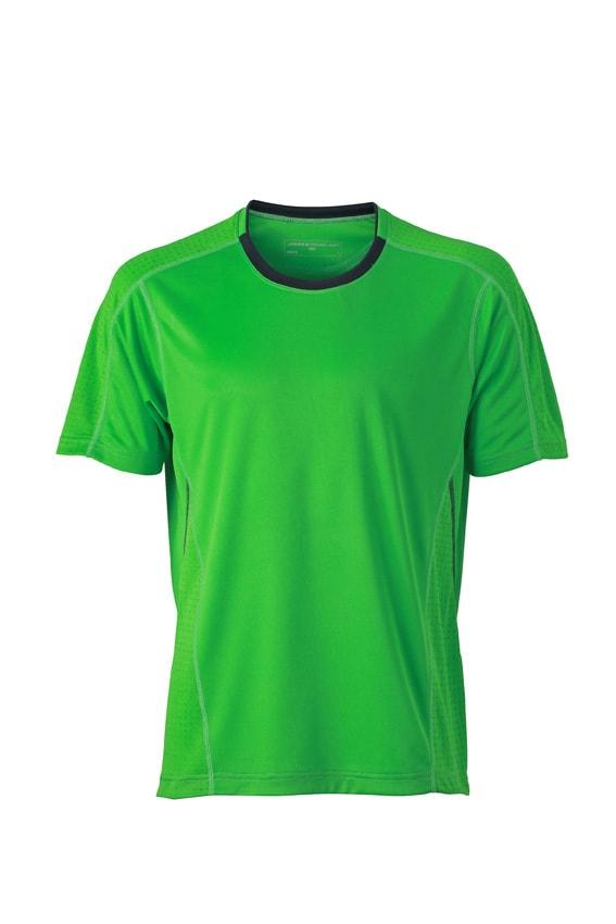 Pánské běžecké tričko JN472 - Zelená / ocelově šedá | M