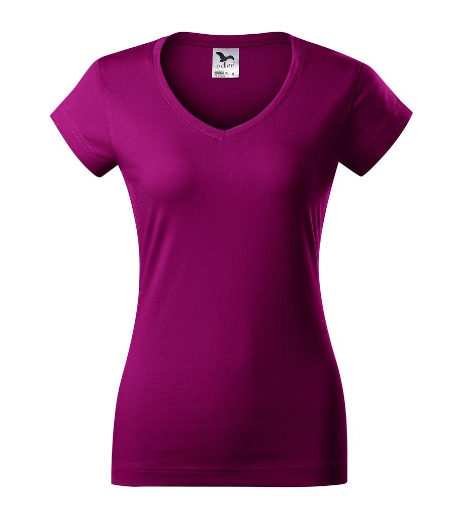 Dámské tričko Fit V-neck - Světle fuchsiová | M