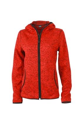 Dámská mikina s kapucí na zip JN588 - Červený melír / černá | XL
