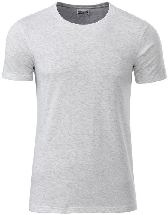 Klasické pánské tričko z biobavlny 8008 - Popelavá | M