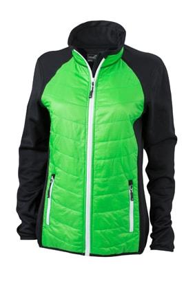 Dámská sportovní bunda JN592 - Černá / zelená / bílá | L