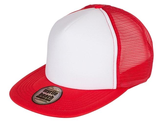 Kšiltovka trucker s rovným kšiltem MB6207 - Bílá / červená