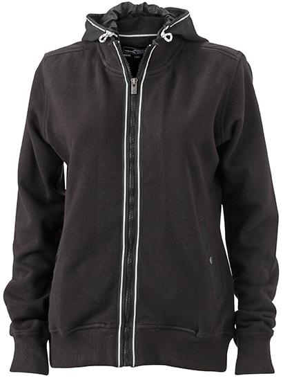 Dámská mikina s kapucí na zip JN995 - Černá / černá | M