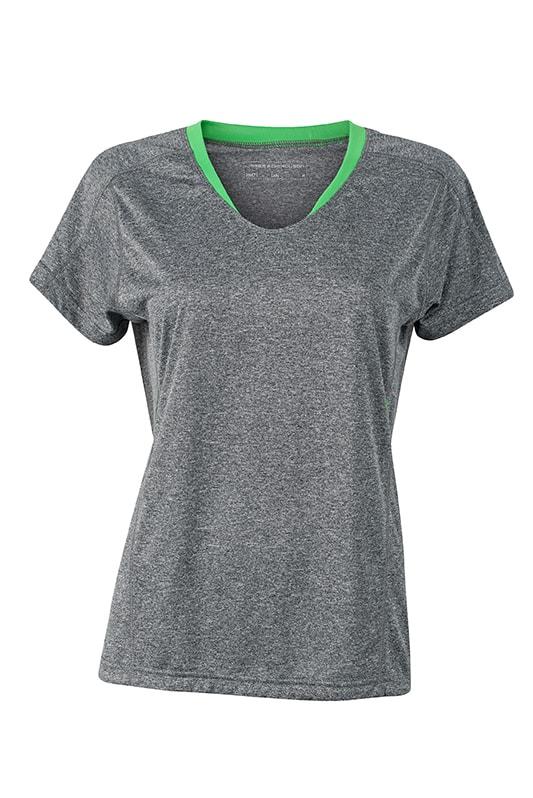 Dámské běžecké triko JN471 - Šedý melír / zelená   XXL