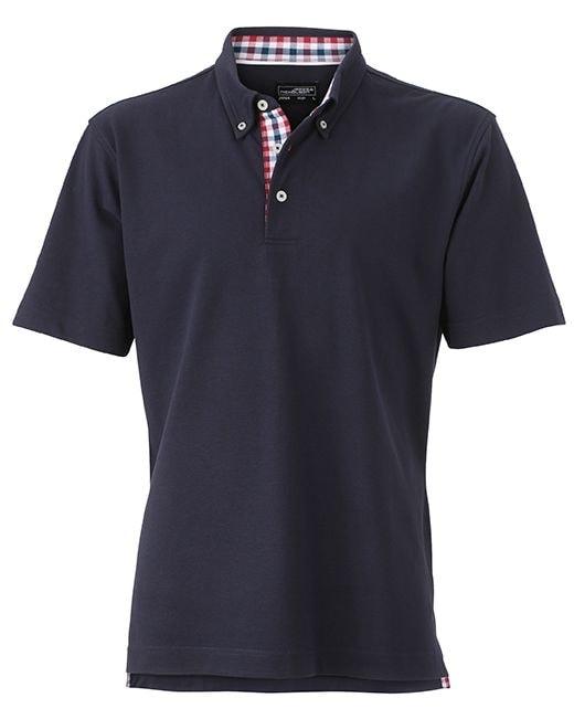 Elegantní pánská polokošile JN964 - Tmavě modrá / červeno-tmavě modro-bílá | XXXL